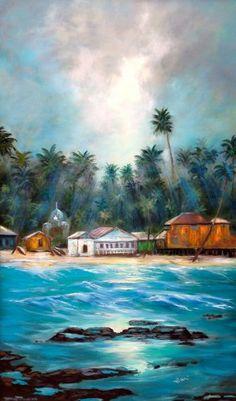 "Tropical Village   Oil on Canvas   36"" x 60"""