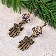 Brass Winged Hand Earrings with Heart and Mosaic Beads Handmade OOAK | SolanaKaiDesigns - Jewelry on ArtFire