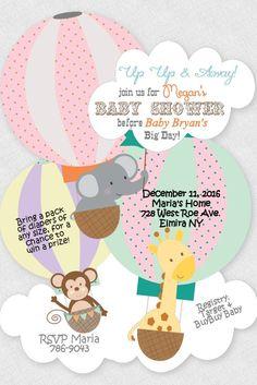 Hot Air Balloon Baby Shower Invitation Giraffe Birthday Invitation Elephant Invitation Monkey Invitations Jungle Shower Safari Invitation by newyorkinvitations on Etsy