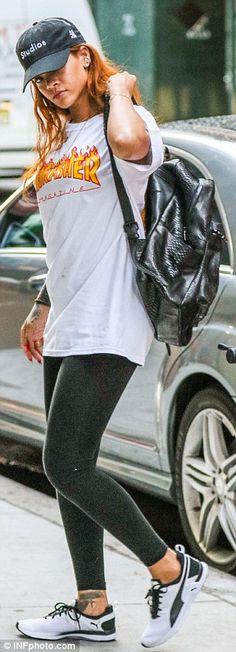 8d5444ca5900 Rihanna rocks Thrasher Magazine T-shirt for NYC gym session