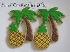 Pineapple and palm tree cookies