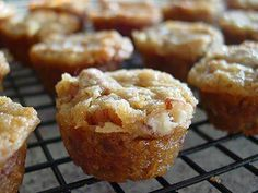 Pecan Pie Cupcakes  Ingredients:  1 cup chopped pecans 1/2 cup all-purpose flour 1 cup packed brown sugar 2/3 cup butter, melted 2 eggs  Directions:  Preheat oven to 350 degrees.  In a medium bowl, combine all ingredients and mix well.  Spray a miniature muffin tin with non-stick cooking spray. (The spray with flour in it works best!)  Fill each 3/4 full.  Bake in preheated oven for approx 18 minutes.