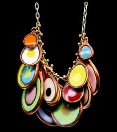 ENAMEL CHARM MULTI CLUSTER NECKLACE - love the colours