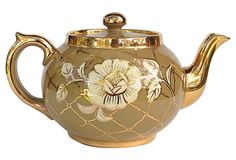 """described by Farrington Lane Hand-painted gold fine bone china teapot with floral motif. Marked """"Gibson made in England."""" English Teapot on OneKingsLane.com"""
