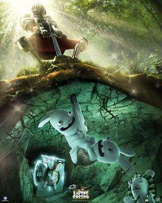 Poster affiche Lapins Crétins Excalibur 40 x 50 cm