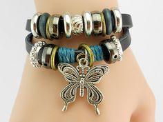 044 Women's black leather bracelet Butterfly bracelet Charm bracelet Rings bracelet Women's leather jewelry Birthday gift For women
