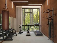 Home gym inspiration! Why not flex some design muscle while flexing your actual muscles! Dream Home Gym, Gym Room At Home, Workout Room Home, Best Home Gym, Workout Rooms, Futuristisches Design, Home Gym Design, Small Home Gyms, Home Gym Garage