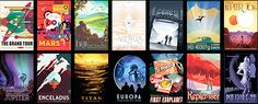 """A set of """"travel posters"""" from NASA/JPL depicts various cosmic destinations. Courtesy of NASA/JPL-Caltech"""