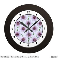 Floral Purple Garden Flower Modern Digits Wall Clock