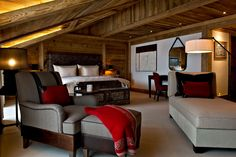 Suite at The Alpina Gstaad, Switzerland, designed by HBA/Hirsch Bedner Associates