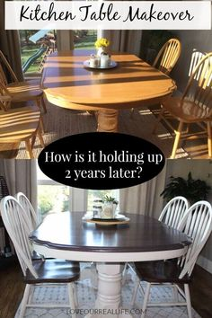 Kitchen Table Makeover How Is it holding up 2 years later If you are considering updating you table with chalk paint and wood stain read how mine has endured over time chalkpaint furnitureDIY kitchentable loveourreallife Refinishing Kitchen Tables, Dining Table Makeover, Kitchen Table Makeover, Diy Kitchen, Kitchen Decor, Refinish Wood Tables, Kitchen Ideas, Refinished Table, Design Kitchen