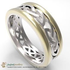 Celtic ring with sterling silver centre with solid yellow gold trims. This ring is wide and is custom made to order in our workshop on the west coast of Ireland. Silver Celtic Rings, Celtic Knot Jewelry, Celtic Knot Ring, Celtic Wedding Rings, Marie Antoinette, Trinity Knot, Custom Jewelry Design, Celtic Designs, One Ring