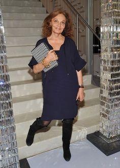 Diane von Furstenerg wore this navy shift dress to the CFDA nominee announcement.