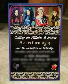 Handmade Descendants invites I made for my daughter's birthday party