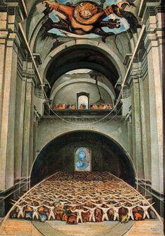 DAVID ALFARO SIQUEIROS.- El diablo en la Iglesia. 1947.  Piroxilina. 218 x 156 cm.  Instituto Nacional de Bellas Artes, México, México.