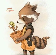 rocket and potted groot