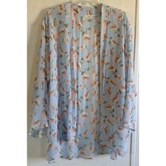 Audrey 3+1 Floral Kimono Excellent condition. Few loose threads. Super cute Audrey 3+1 kimono from Anthropologie. Baby blue sheer chiffon with pink flowers. Open front. Long with long sleeves. Awesome layering piece. Size large. +All offers welcome Anthropologie Tops Blouses