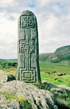 Celtic Christian stone carving in the valley of Glencolumbkille, Donegal, Ireland. One of the pilgrimage circuit stations. Celtic Symbols, Celtic Art, Mayan Symbols, Egyptian Symbols, Ancient Symbols, Celtic Knots, Old Stone, Stone Art, Monuments