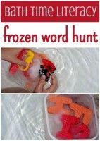 bath time activity for kids: frozen word hunt