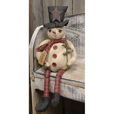New Country Primitive Christmas Frosty MAGIC THE SNOWMAN Doll