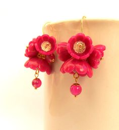Hey, I found this really awesome Etsy listing at https://www.etsy.com/listing/211981303/fuchsia-earrings-flower-earrings-dangle