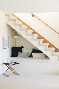 These under stair nooks are perfect for additional storage, furniture and cozy space. These ideas feature desks, shelves and plenty of cozy pillows. Basement Stairs, House Stairs, Basement Ceilings, Basement Ideas, Cottage Stairs, Bed Stairs, Entryway Stairs, Rustic Entryway, Home Decor Ideas