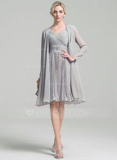 [US$ 104.19] A-Line/Princess V-neck Knee-Length Chiffon Mother of the Bride Dress With Ruffle Beading Pleated