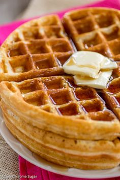 My favorite staple recipe for golden, buttery waffles that are perfectly crispy on the outside and fluffy on the inside.
