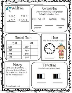 math worksheet : second grade math spiral review  great for morning work practice  : Grade 2 Mental Math Worksheets