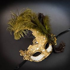 Feather Masquerade Mask Masquerade Mask Ivory Gold