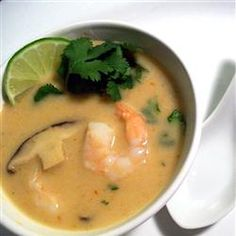 This is one of my favorite recipes of all time. It reminds me of the hole in the wall Thai place we used to go to in Amsterdam that was to die for. Thai Coconut Soup, I usually sub the shrimp for chicken.