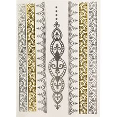 Printed Village Henna Metallic Tattoos ($5.23) ❤ liked on Polyvore featuring accessories, body art and yellow