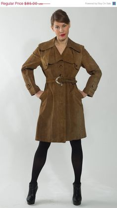 50 OFF SALE 1970's Brown Leather Trench Coat  Vintage by mijumaju, $42.50