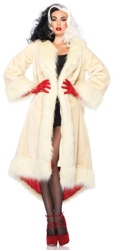 Cruella Deville Coat Villain Adult Costume - I would so be cruella when I have kids and make them be Dalmatian puppies!