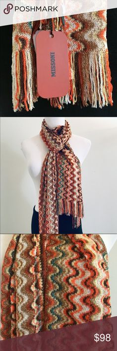MISSONI LIGHWEIGHT MULTI WAVE FINE KNIT SCARF MADE IN ITALY