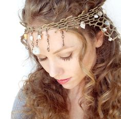 Mermaid Headdress with Seashells and Fishnet by BeasleysWonders, $40.00 Perfect for Halloween costumes for adult women.