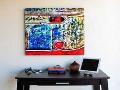 Classic car abstract photograph artwork - Wood mounted car part art - 24 x 30 - Perfect car lover gift