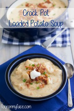 Knock the chill off with a bowl of Crock Pot Loaded Potato Soup. It will warm you up in no time and tastes just as good as a loaded baked potato. Crock Pot Potatoes, Crock Pot Soup, Crock Pot Slow Cooker, Slow Cooker Recipes, Crockpot Recipes, Soup Recipes, Cooking Recipes, Recipies, Crock Pots