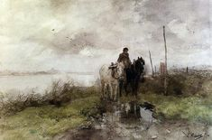 Anton Mauve The Country Road hand painted oil painting reproduction on canvas by artist Great Paintings, French Paintings, Landscape Paintings, Paintings Famous, Oil Painting Landscape, Painting, Oil Painting, Watercolour Inspiration, Anton