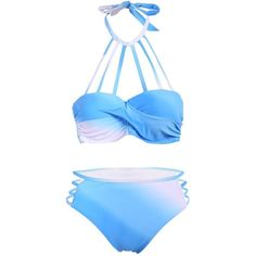 Halter Ombre Strappy Bikini ($15) ❤ liked on Polyvore featuring swimwear, bikinis, halter neck bikini, strappy halter top, halter-neck tops, strappy swimwear and halterneck bikini top