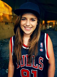 happy girl smile fullcap bulls chicago bulls basketball jersey artistic photo 91 roodman