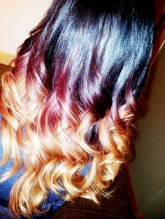 Black, burgundy & blonde Ombre by Modern Trendz Salon. Yelm Washington.
