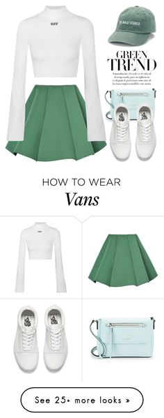 """Something green 3058"" by boxthoughts on Polyvore featuring WithChic, Off-White, Kate Spade and Vans"