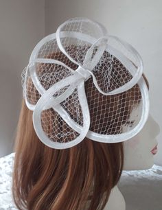 White wedding hat White Special occasion fascinator White Ascot summer satin headdress with birdcage veiling leaves on a clip-made in the UK Bridal Wedding Shoes, Wedding Hats, Satin Shoes, Lace Embroidery, White Satin, Ascot, Blue Beads, Bird Cage, Beaded Lace