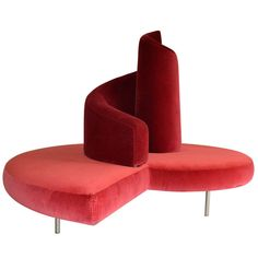 "Sofa designed by Mario Cananzi and Roberto Semprini model ""Tatlin"" in original red Velvet. Edited by Edra ca.1990"