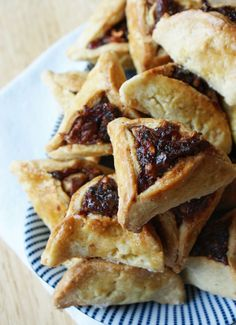 delicious, though a PITA to make... Hamentashen, a traditional cookie for Purim, filled with prune butter, dried fruit and walnuts.