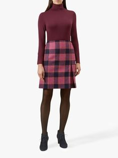 Buy Hobbs Avery Pleat Wool Skirt, Pink/Multi from our Women's Skirts range at John Lewis & Partners. Brown Tights, Fashion Forms, Fashion Ideas, Tartan Fashion, Green Mini Skirt, Wool Skirts, Women's Skirts, Roll Neck Jumpers