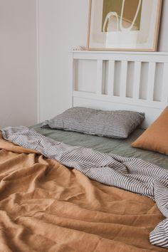 Sandalwood, Sage & Charcoal Stripe French linen is the ultimate tonal home decor., Sandalwood, Sage & Charcoal Stripe French linen is the ultimate tonal home decor moment. Home Decor Bedroom, Bedroom Furniture, Paint Furniture, Furniture Makeover, 60s Bedroom, Furniture Design, Design Bedroom, Bedroom Apartment, Bedrooms