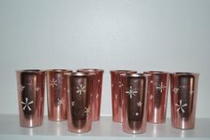 Vintage Pink West Bend Aluminum Cups, Set of 8 West Bend Snow Flake Cups, RARE West Bend Mid Century Cups