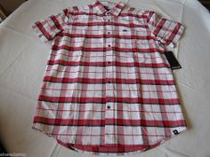 Men's Hurley shirt button up M surf skate NEW plaid MVS0002030 WHT red Villager #Hurley #ButtonFront